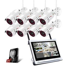 "ANRAN All-in-1 Wireless Security Cameras System with 12"" LCD"