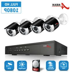 1080P Security Camera System 4CH/8CH PoE NVR Night Vision Ho