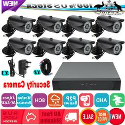 1080P Wired Security Camera System 8CH AHD DVR + 8 Wifi Surv