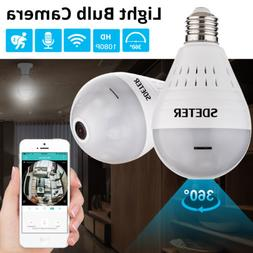 360° Panoramic 1080P SPY Hidden wifi Camera Light Bulb Home