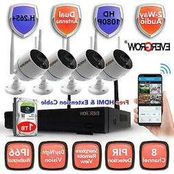 4CH 1080P Audio Wireless Wifi Outdoor Night Vision Home Secu