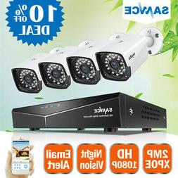 SANNCE 4CH HD 1920* 1080P NVR POE Security IP Camera Kit Sys