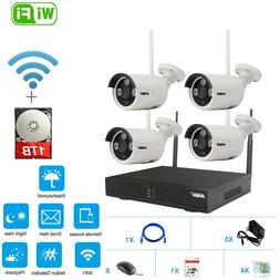 4CH WiFi Wireless CCTV Security Camera System NVR Home IPCam