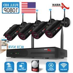 ANRAN 1080P Home Security Camera System Wireless 8CH 1TB Har