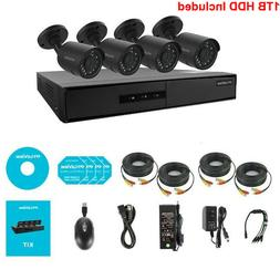 720P HD Security Surveillance System 4 Channel DVR w 4 Spotl