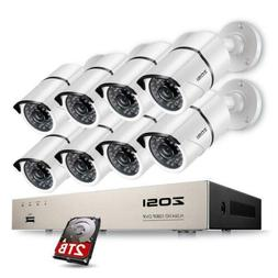 Zosi 8 Channel 1080P 2TB DVR Security Camera System With 8 W