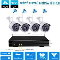 8-Channel Wireless NVR Outdoor IP WIFI HD 720P IR-CUT Camera