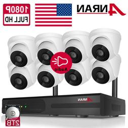 ANRAN 8CH 1080P HD Audio Outdoor CCTV Wireless Security Syst