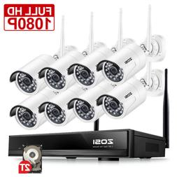 ZOSI 8 Channel H.265 1080P Wireless Network IP Security Came