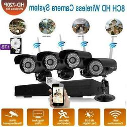 Wireless 8CH NVR IR-CUT Wifi Camera Home Security System Mot