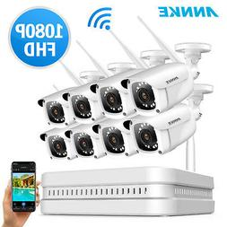 ANNKE 8CH NVR Wireless WIFI System 8x1080P Security IP Camer