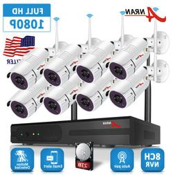 ANRAN 8CH Wireless 1080P NVR Outdoor indoor WIFI Camera CCTV