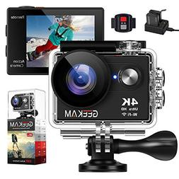 GeeKam Action Camera 4K WiFi Ultra HD Underwater 30M Waterpr