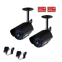 VideoSecu 2 Pack Bullet Outdoor CCTV Infrared Day Night Visi