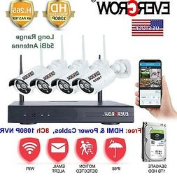 H.265 4CH 1080P Wireless WiFi Camera CCTV DVR Security Syste