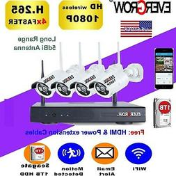 H265+ Wireless 4CH 1080P Home Security System Network CCTV W