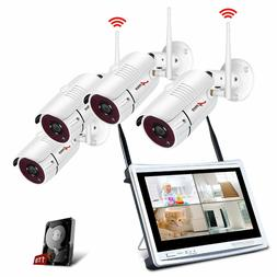 Kit Cameras security Wireless with 12 Inch Monitor LCD, WiFi