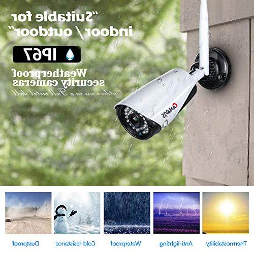 CANAVIS Res CCTV Wireless Security Android Compatible Weatherproof 960P NVR Cam with 65ft Vision, HDD