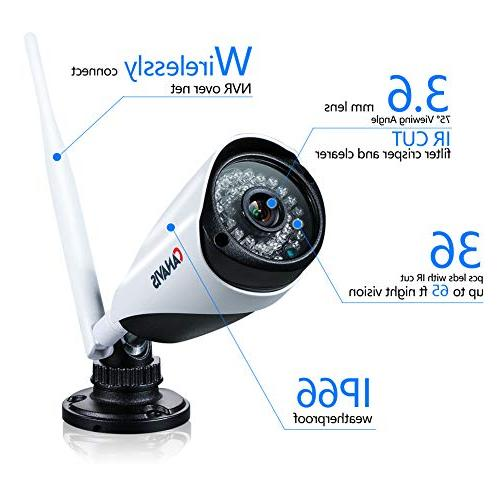 CANAVIS 1280×720 CCTV Wireless Security Network Android Compatible 960P NVR Surveillance Cam 65ft Night HDD