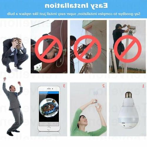 360 Degree 1080P HD Hidden Wifi Light Bulb Security Cam Lamp