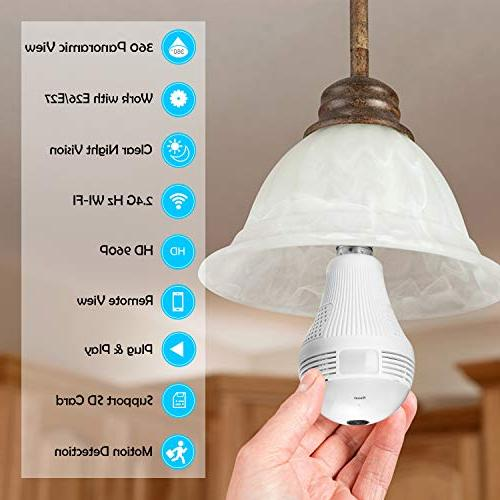 360 Degree Panoramic Light Bulb BESDERSEC HD 960P Camera Detection Wireless Camera