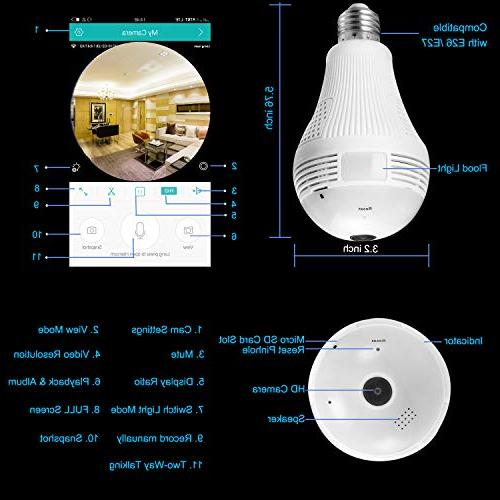360 Degree Bulb WiFi BESDERSEC Camera Home Camera Motion