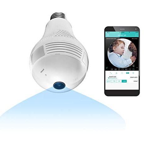 360 degree panoramic light bulb wifi security
