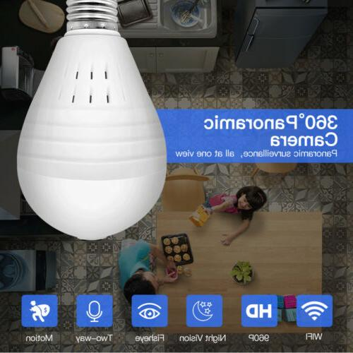 360° wifi Camera Bulb Home Security IP Lamp