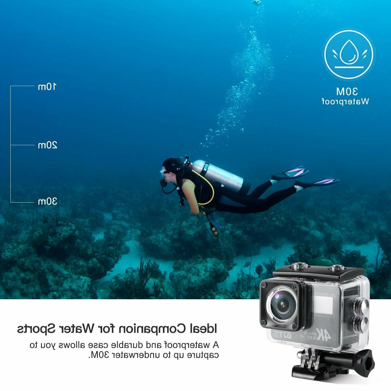GJT Touchscreen Action Camera Dual 12MP Waterproof Camcorder