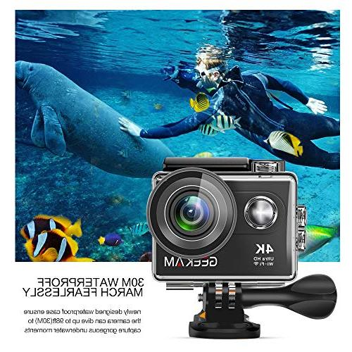 GeeKam Action WiFi Underwater 30M Angle Lens with Control 2 Rechargeable Accessories Kit