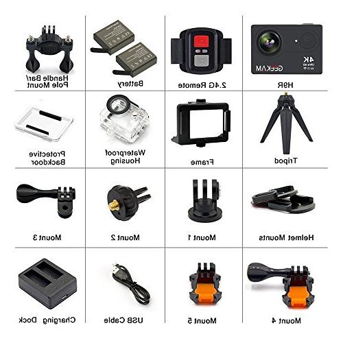 GeeKam Action Camera WiFi HD 30M 170° Angle Sports with Remote Control Rechargeable Batteries and Mounting Accessories