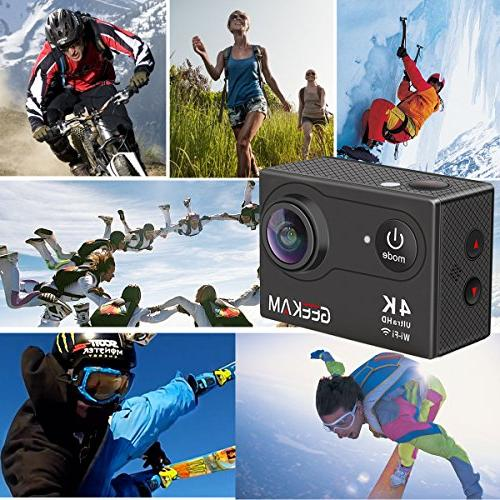 GeeKam Action Camera WiFi Ultra HD 30M Waterproof Wide Angle Lens with Accessories