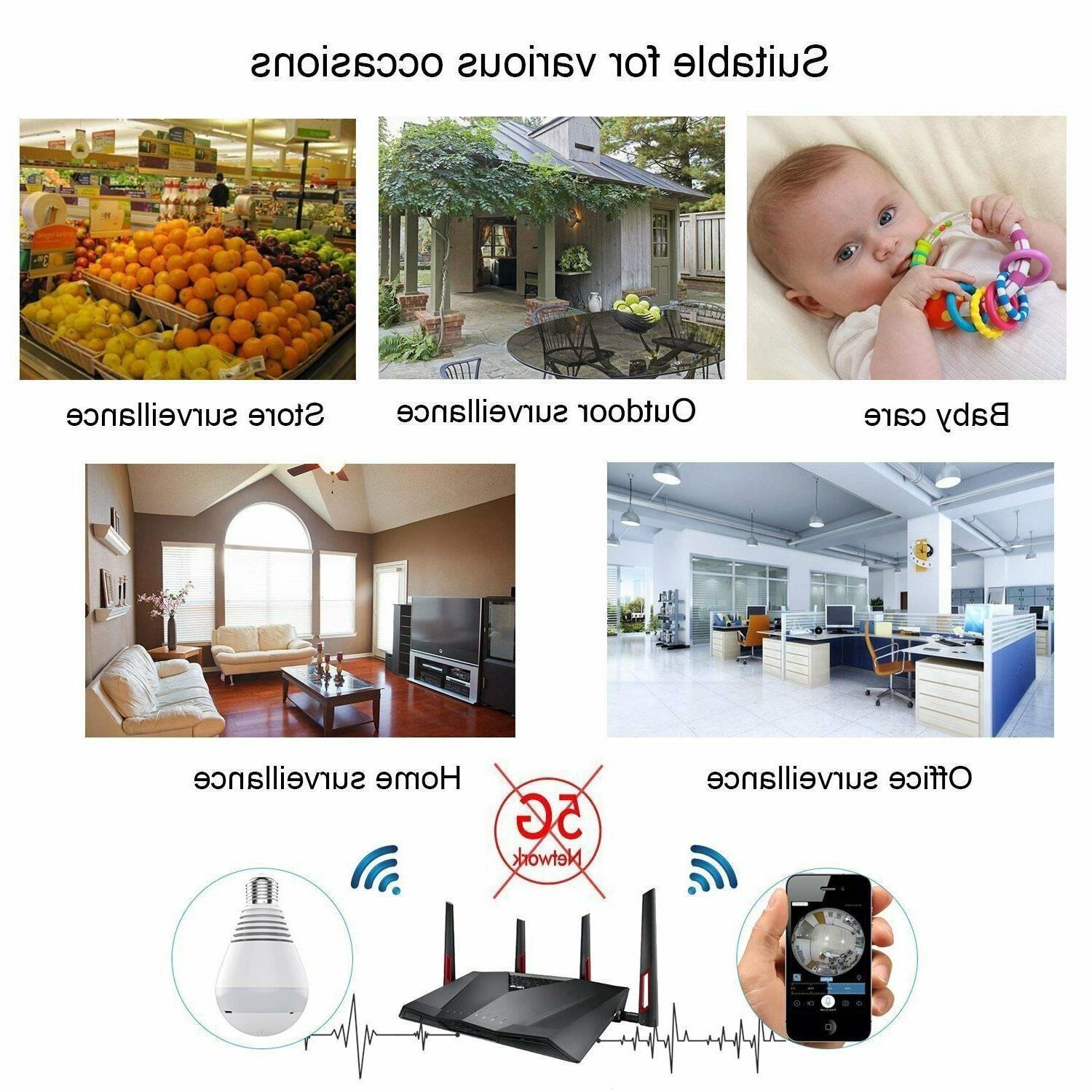 Bulb WiFi Wireless, Hidden 360 Panoramic 1080P Vis