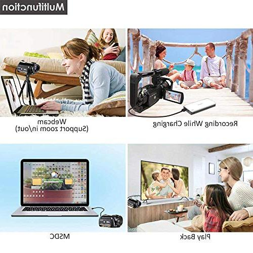 4K Ultra HD Camera 1080P WiFi Camera and Vision Camcorder 3.1'' Screen with Microphone Wide Angle
