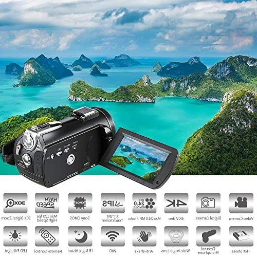 4K ORDRO AC3 Ultra HD 1080P 60FPS and Night Vision Camcorder 3.1'' Screen with Microphone