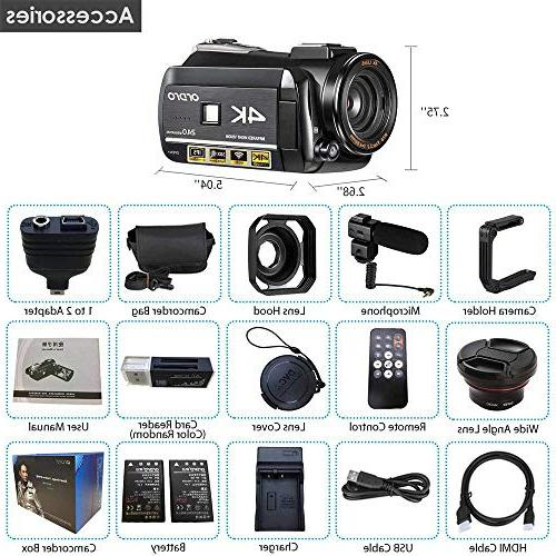 4K Camcorder, Ultra HD 1080P 60FPS and Camcorder IPS Touch Screen Digital Microphone Wide Lens