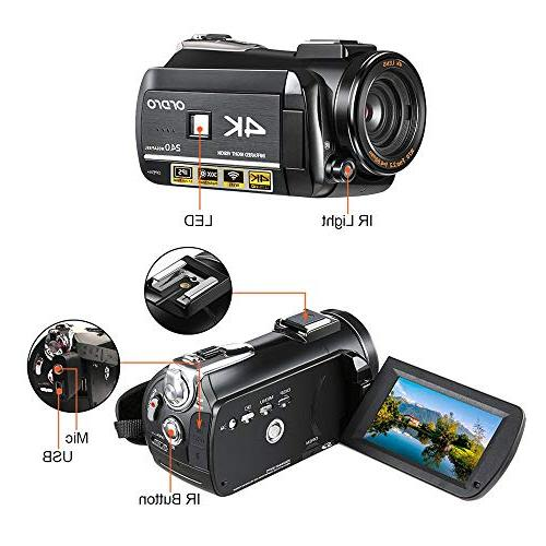 4K Camcorder, ORDRO AC3 Ultra 1080P Camcorder 3.1'' Screen Camcorders Microphone Angle