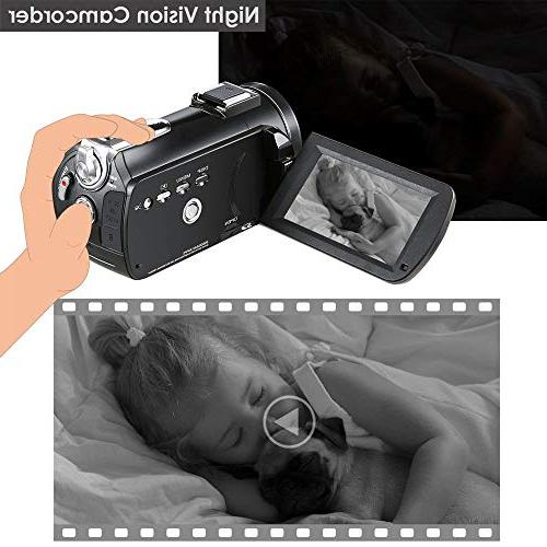 4K Camcorder, Ultra 1080P and IR Screen Microphone Lens