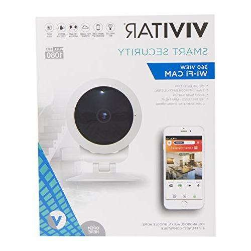 Vivitar 360 Wide Angle 1080p HD Smart Camera Motion Detection, Night Vision, Pet Two-Way iOS for Office Use