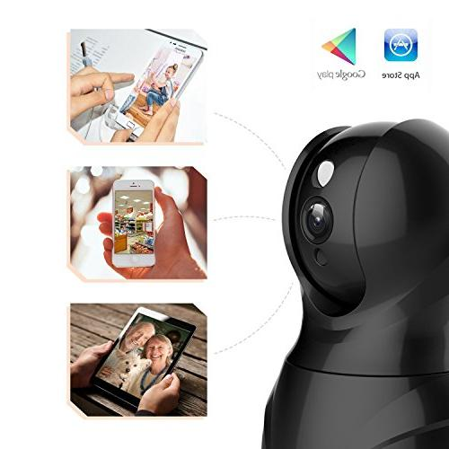 KAMTRON Camera,1080P Camera Home with Motion Detection Audio Night Vision,Black