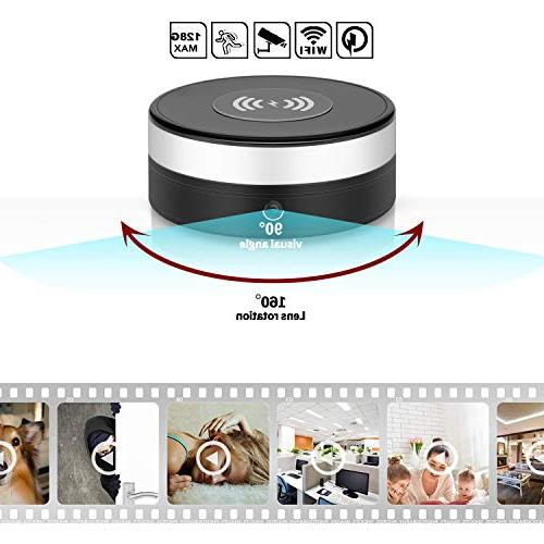 PANNOVO L-Y12 Spy Camera with 160°Rotate Lens 5W Fast Pad Compatible x, 9/S9/Note 8, Black