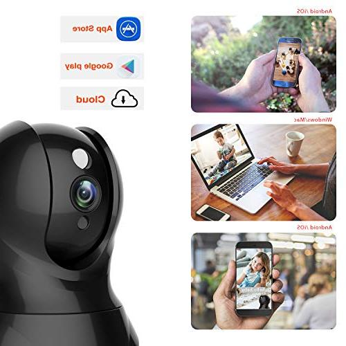 Security Camera 1080P Pet Camera - KAMTRON Wireless Pan/Tilt/Zoom Home Camera Baby Camera Motion Two-Way Audio, Night - Cloud