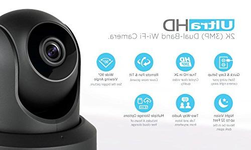 2-Pack UltraHD WiFi Security Camera Band 5ghz/2.4ghz, 3-Megapixel 90° Viewing Angle Night