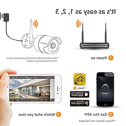 WiFi Security Camera, Waterproof Surveillance Bullet for Smartphone Detection, Night