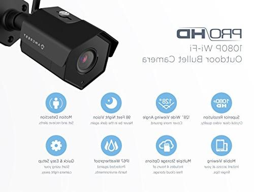 Amcrest 1080P Outdoor Camera Wireless 2MP WiFi Security Surveillance System Bullet IP Camera with Vision Video Motion Detection IP2M-852B