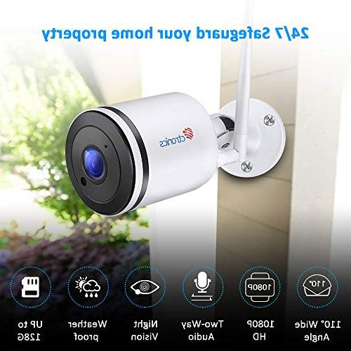 Wireless IP with with Two-Way Audio,98f Night Vision,IP65 Waterproof,Motion SD card