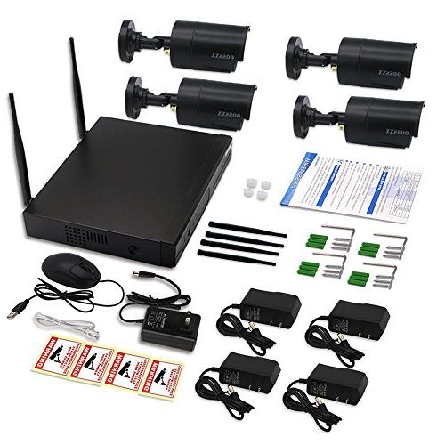 OOSSXX 8-Channel Wireless Network/IP System,4Pcs 960P Indoor/Outdoor Bullet Cameras,P2P,App,No HDD