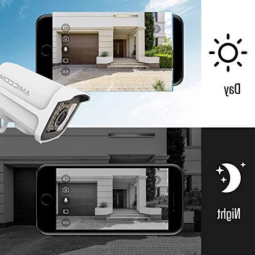 AMICCOM Outdoor Camera- 1080P System Night Vision 2-Way Android Support 128GB