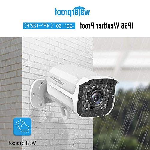 AMICCOM Outdoor 1080P HD Surveillance System Vision Outdoor with 2-Way Audio and Android 128GB Card