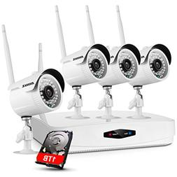 ANNKE 1080P 4 Channel Security Camera System NVR Recorder wi